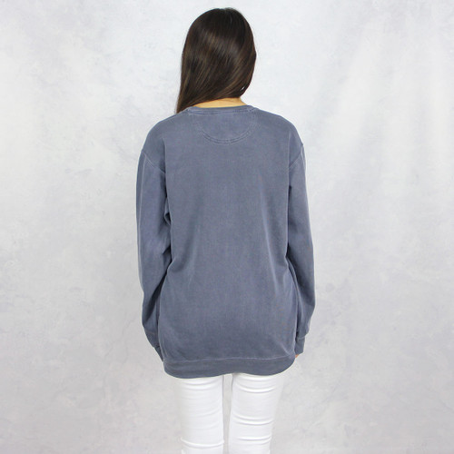 Alpha Chi Omega Embroidered Sweatshirt in Blue by Comfort Colors  Back