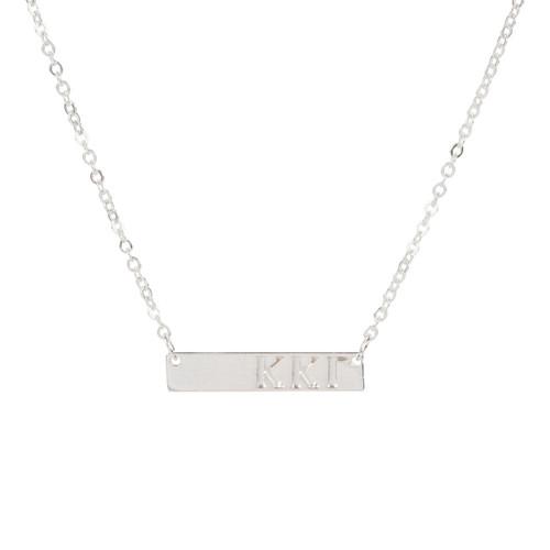 Kappa Kappa Gamma Silver Bar Necklace
