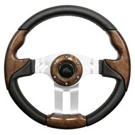 "Aviator 5 Steering Wheel, Woodgrain/Brushed Aluminum, 13"" Diameter"