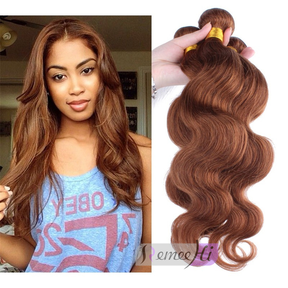 Remeehi Body Wave 30 Honey Brown Hair Weft Human Hair Extensions
