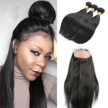 Remeehi Straight 360 Degree Lace Frontal Closure And 3