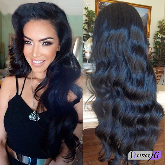 Remeehi New Wave Indian Virgin Hair Full Lace Wig With Elastic