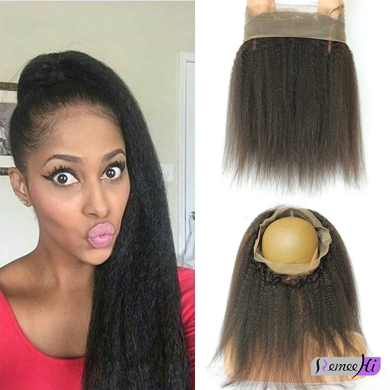Remeehi Kinky straight Brazilion remy Hair 360 Full Lace Band Frontal  Closure with Baby Hair for Black Women d3ef7272b6