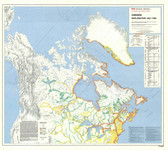 "Canada government Canadian Exploration 1651 to 1760 Map 35"" x 31"" from the 1980's"