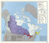 "Canada government Native Treaties Map 35"" x 31"" from the 1980's"