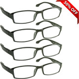 Wall Street Reading Glasses 4 Pack Black