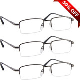 Value 3 Pack Half Frame Metal Reading Glasses