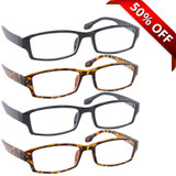 Wall Street Reading Glasses 4 Pack 2 Black 2 Tortoise