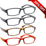 Wall Street Reading Glasses 4 Pack 2 Black Tortoise Red