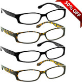 Brookside Reading Glasses 4 Pack 2 Black 2 Tortoise