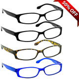 Brookside Reading Glasses 4 Pack 2 Black Tortoise Blue