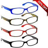 Brookside Reading Glasses 4 Pack Blue Tortoise Red Black