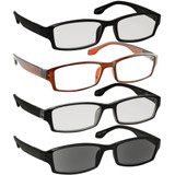Wall Street Reading Glasses 4 Pack Black Brown Tuxedo Sun