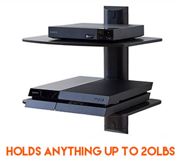 each shelf can hold 10lbs so that makes 20lbs in total of game consoles, cable boxes, and streaming devices