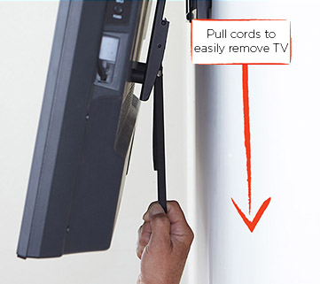 pull cords and click lock system make it easy to connect your TV and remove it if needed