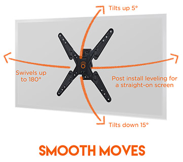 Easily articulate and move the TV wall mount to almost any position