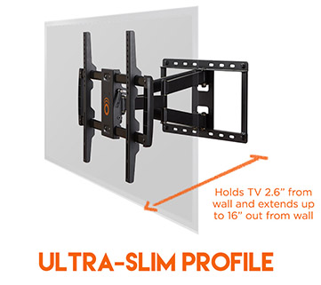 Large full motion wall mounted TV bracket has a slim low-profile design