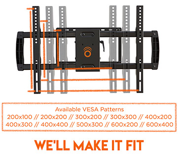 with a wide range of compatible VESA patterns, this mount is almost universal for TVs between 32in - 70in