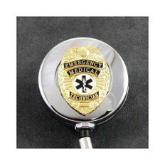 EMT Emergency Medical Technician Badge Retractable ID Reel Chrome