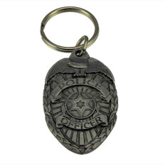 Police Officer Law Enforcement Mini Badge Pewter Key Ring
