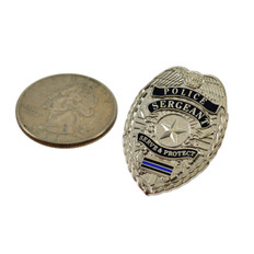 Police Sergeant Blue Line Mini Badge Lapel Pin Nickel