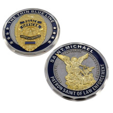 Thin Blue Line St Michael 3D Police Challenge Coin (CCN-THN-STM)