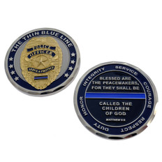 Matthew 5:9 Thin Blue Line Police Badge Challenge Coin