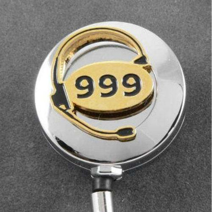 999 UK Emergency Dispatcher Retractable ID Holder Reel Chrome