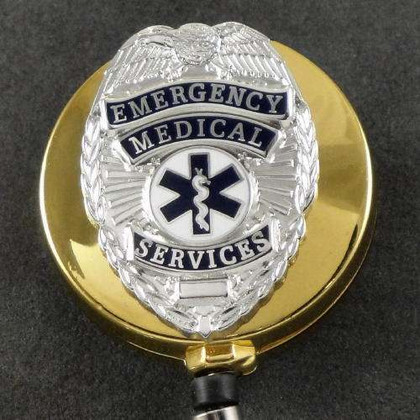 EMS Emergency Medical Services Retractable ID Holder Gold
