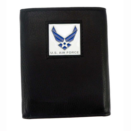 U S Air Force Trifold Leather Wallet with Air Force Emblem