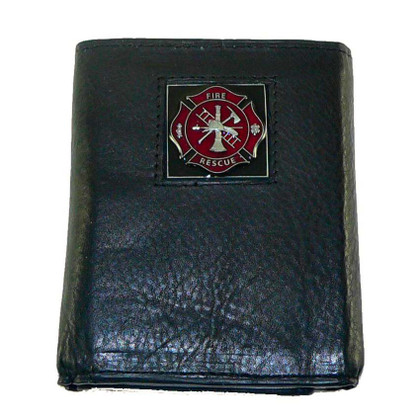 Firefighter Trifold Leather Wallet with Maltese Cross Emblem