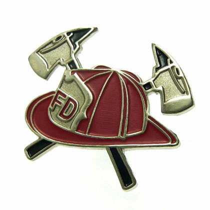 Firefighter Helmet and Crossed Axes Lapel Pin