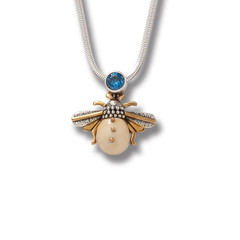 Fossilized Ivory Silver Honeybee Pendant with Blue Topaz – Blue Bee