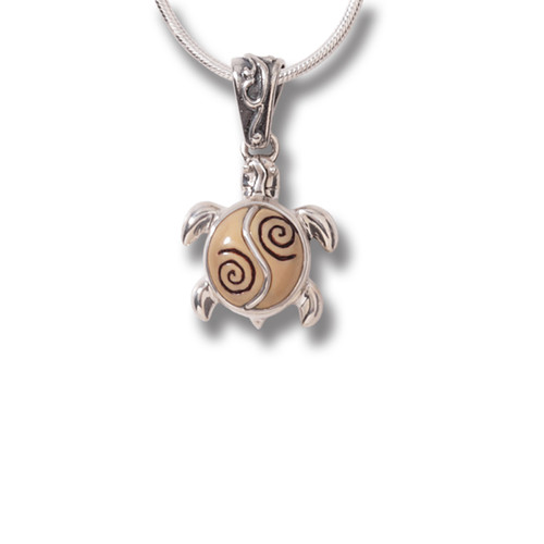 Fossilized Walrus Tusk Ivory Turtle Necklace Silver, Handmade - Baby Turtle