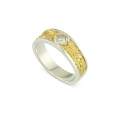 925 Silver 6 MM Natural Gold Nugget Channel Ring Tapered Size 9 with .32 CT SI2 M Color Diamond