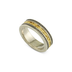 925 Silver 6MM Natural Gold Nugget Channel Rope Ring Straight Size 7.25