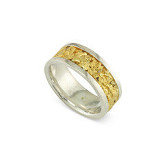 925 Silver 9 MM Natural Gold Nugget Channel Ring Straight Size 11.5