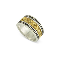 925 Silver 12x8 MM Natural Gold Nugget channel Rope Ring Tapered Size 11