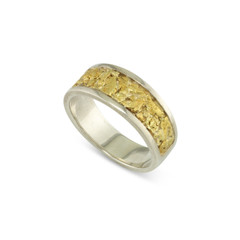 925 Silver 8x6 MM Natural Gold Nugget Channel Ring tapered size 9