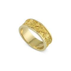 14 Karat Yellow 8MM Natural Gold Nugget Channel Ring Straight Size 11
