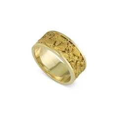 14 Karat Yellow 8 MM Natural Gold Nugget channel Ring Straight Size 12