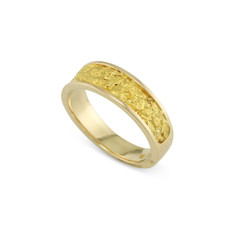 14 Karat Yellow 6x4 MM Natural Gold Nugget Ring Tapered Size 7