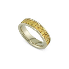14 Karat Yellow 6 MM Natural Gold Nugget Channel Ring Straight Size 9.5