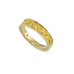 14 Karat Yellow 6x4 MM Natural Gold Nugget Channel Ring Tapered Size 9.75