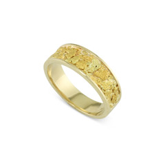14 Karat Yellow 7x5 MM Natural Gold Nugget Channel Ring Tapered Size 11