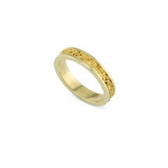 14 Karat Yellow 4 MM Natural Gold Nugget Channel Ring Straight Size 7.25