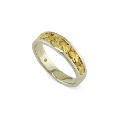 14 Karat White 6x4 MM Natural Gold Nugget Channel Ring Tapered Size 9.50