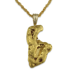 10.1 DWT Natural Gold Nugget Pendant With 14 Karat yellow Gold Bail with Display Chain