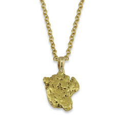 4.8 DWT Natural Gold Nugget Pendant With 14 Karat yellow Gold Bail with Display Chain