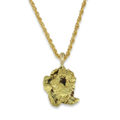 1.7 DWT Natural Gold Nugget Pendant With 14 Karat yellow Gold Bail with Display Chain